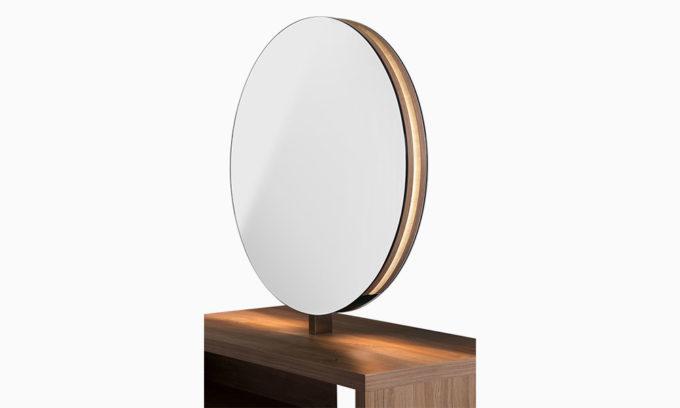 poste de coiffure miroir rond avec lumière LED