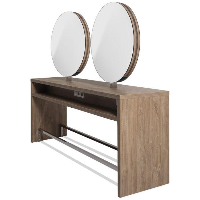 coiffeuse 4 places îlot bois clair avec miroirs ronds et repose-pieds en métal