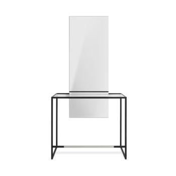 Coiffeuse murale en métal noir, tablette en verre, grand miroir rectangle