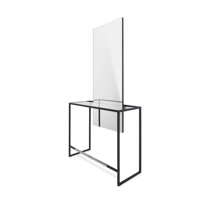 poste de coiffure structure métallique noir, repose pieds, grand miroir rectangle