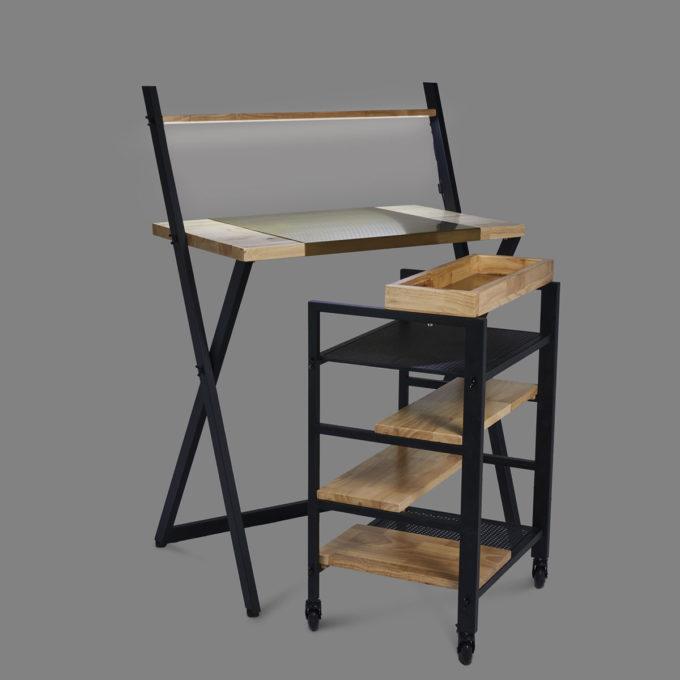 combinaison table Iris et meuble à roulettes Skye