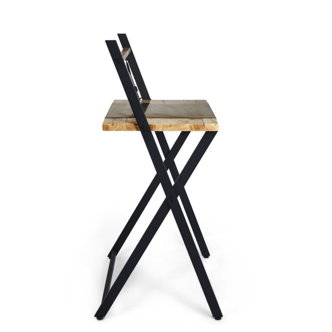 table pliante de travail Iris en métal noir et bois de chêne