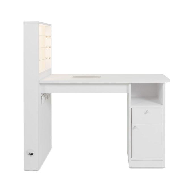 Table pour manucure blanche avec étagère LED