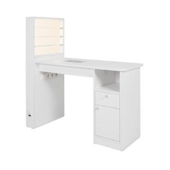Table de manucure avec étagères en verre éclairages LED pour vernis, tiroir, placard