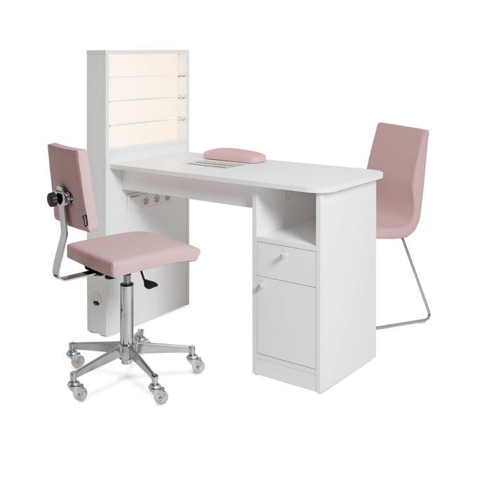 table de manucure avec chaise et fauteuil d'esthétique éclairage LED, rangement et exposition pour les vernis