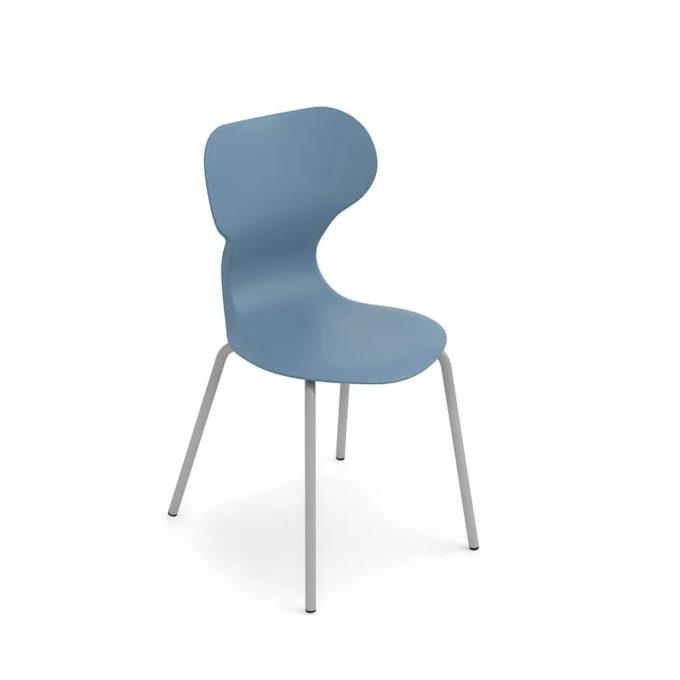 chaise d'attente bleue avec pied aluminium brillant