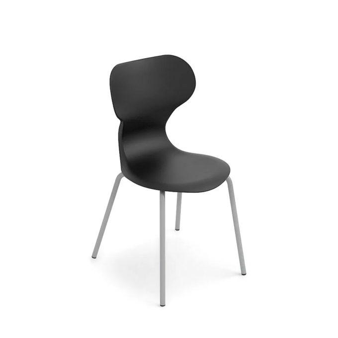 chaise d'attente noire avec pied aluminium brillant