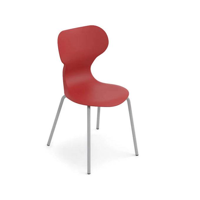 chaise d'attente rouge avec pied aluminium brillant