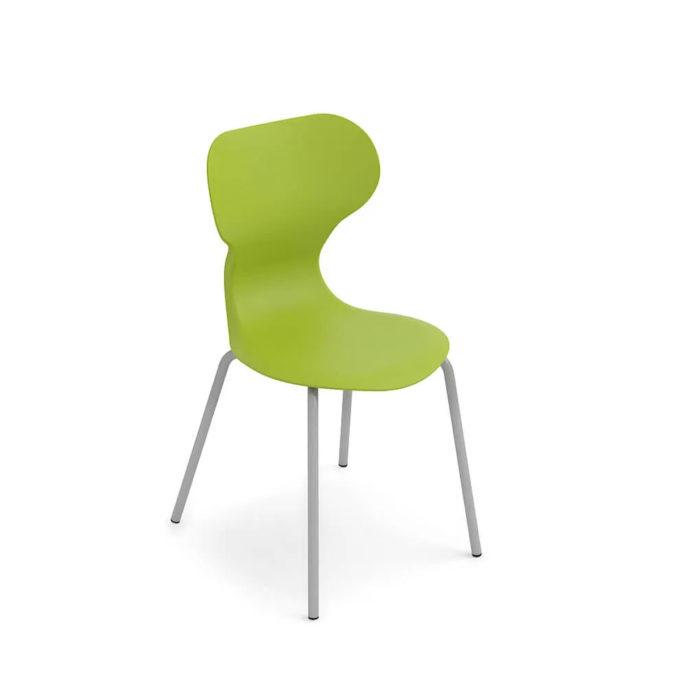 chaise d'attente verte avec pied aluminium brillant