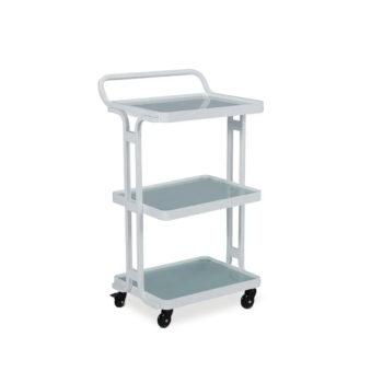 chariot à roulettes blanc avec trois étagères
