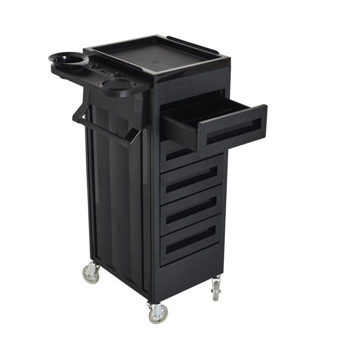 Chariot à rouettes noir avec tiroirs, tablette avec porte sèche cheveux