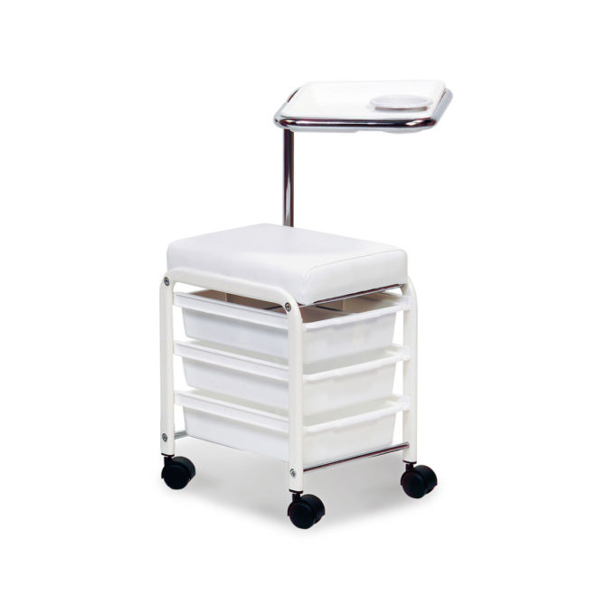Table, tabouret et chariot de manucure, tiroirs, assise en mousse recouverte de skai blanc et tablette réglable