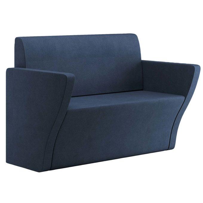 Canapé d'attente pour salon de coiffure bleu marine en skai, deux places