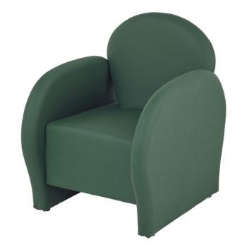Fauteuil attente vert avec accoudoirs et dossiers arrondis et rembourrés, confortables pour salon de coiffure