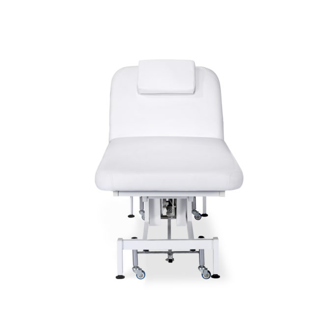 lit de massage blanc réglable en hauteur