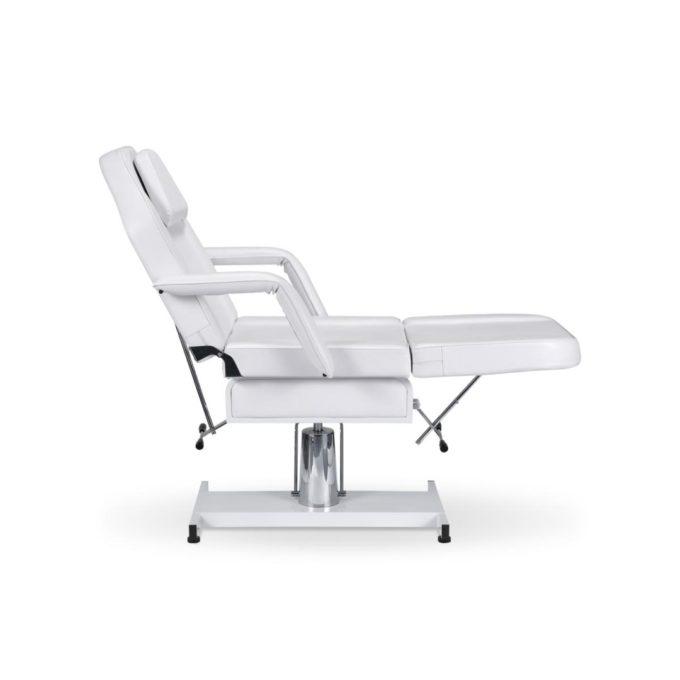 Fauteuil d'esthétique et pédicure et lit de massage blanc, avec réglage en plusieurs positions manuelles