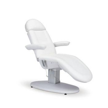 Fauteuil de pédicure blanc en pvc avec moteur électrique pour régler hauteur, assise et dossier,