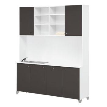 Meuble laboratoire avec évier en inox et nombreux rangments pour votre espace soin et coloration dans votre salon de coiffure