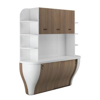 Meuble rangement et laboratoire de la gamme Curve structure en bois blanc laqué et portes personnalisables