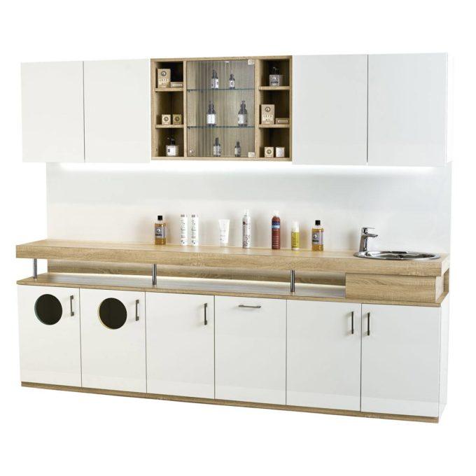 meuble de rangement et laboratoire, avec évier, nombreaux rangement, plan de travail en bois surélevé