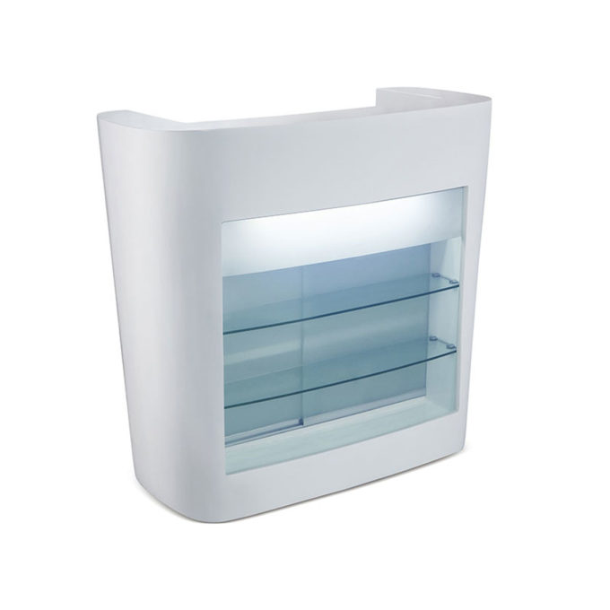 Meuble de caisse avec lumière LED et vitrine en façade intégrés, étagères et tiroir caisse et prise usb, blanc