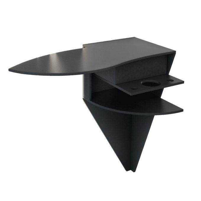 Etagère murale de rangement noir avec tablette en verre design original et ergonomoique, porte séchoir