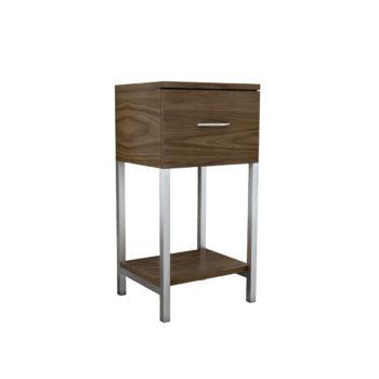 Meuble de rangement avec tiroir et étagère, structure en métal et bois effet naturel