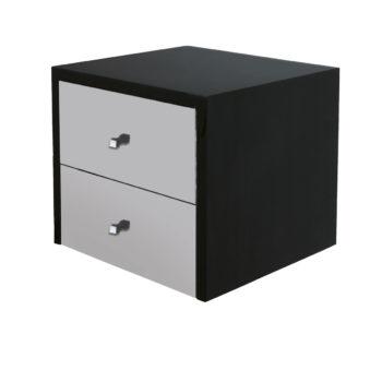 Deux tiroirs fixation au mur en stratifié noir et gris, autres couleurs aux choix