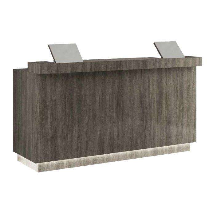 Meuble caisse de 2 mètres en bois stratifié effet bois avec deux tablettes relevables et rangements