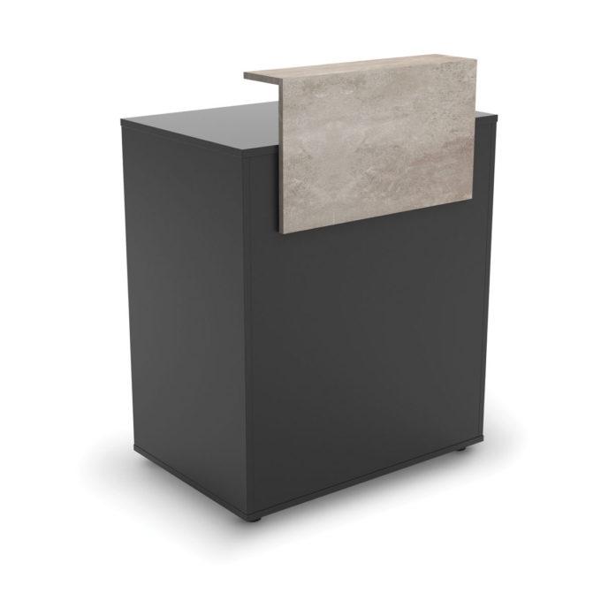 Petit meuble caisse noir avec comptoir en effet marbre gris, tiroir et rangement
