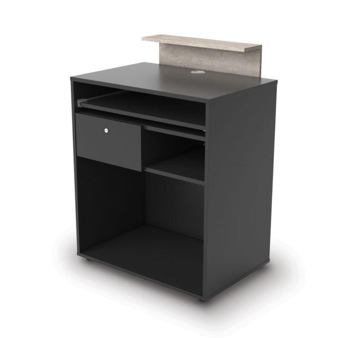 Meuble caisse avec tiroir à clés, tablette extractible pour clavier et étagère