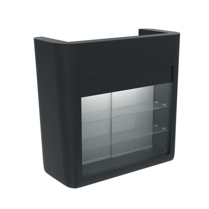 Meuble de réception caisse noir avec lumière LED et vitrine en façade intégrés, prise usb et tiroir caisse
