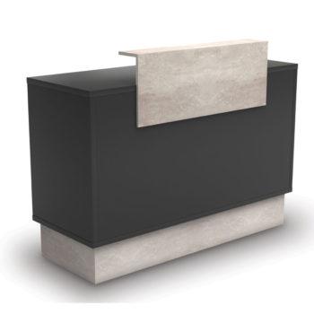 Meuble caisse avec tiroir caisse à clé, tablette extractible pour clavier, étagère de rangement, finitions bois noir et effet marbre
