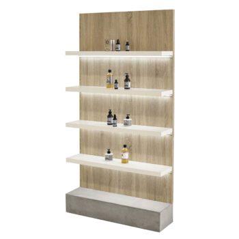 Meuble d'exposition organique en bois statifié et base en béton brut, 4 étagères éclairées