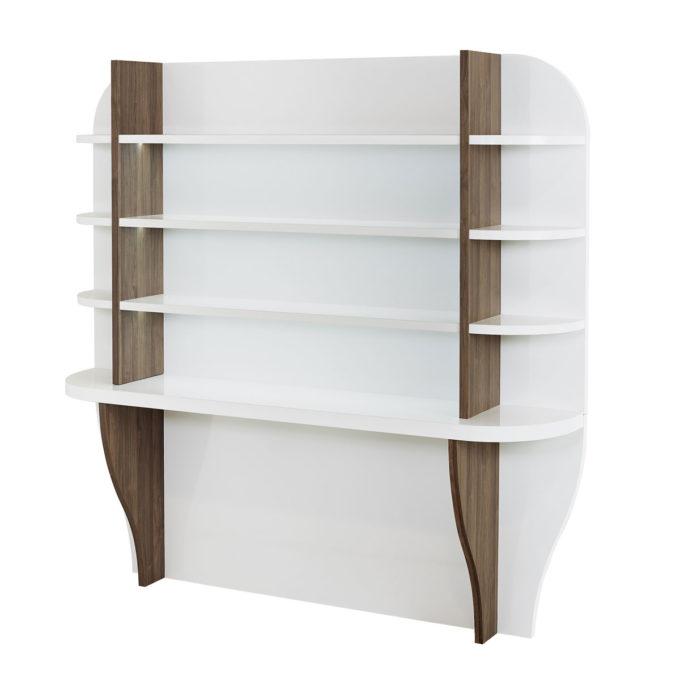 Grande étagère d'exposition pour salon de coiffure en blanc laqué et finition stratifié bois latérale