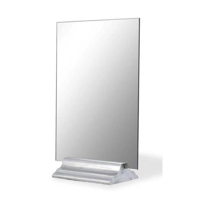 Miroir de table pour salon de beauté ou coiffure, rectangulaire, rect verso sur socle en bois