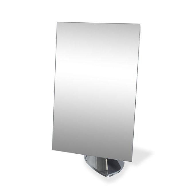 Miroir de table simple avec socle en aluminium brillant pour salon de beauté et coiffure