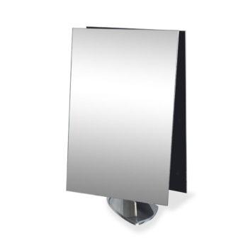 Miroir de table double avec base en aluminium brillant pour salon de beauté et coiffure