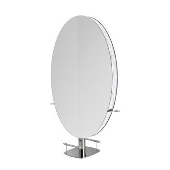 Grand miroir rond de table double sur strucutre métallique brillante