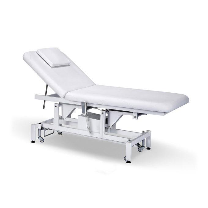 table de massage électrique avec coussin et ouverture pour la tête réglable en hauteur et dossier inclinable