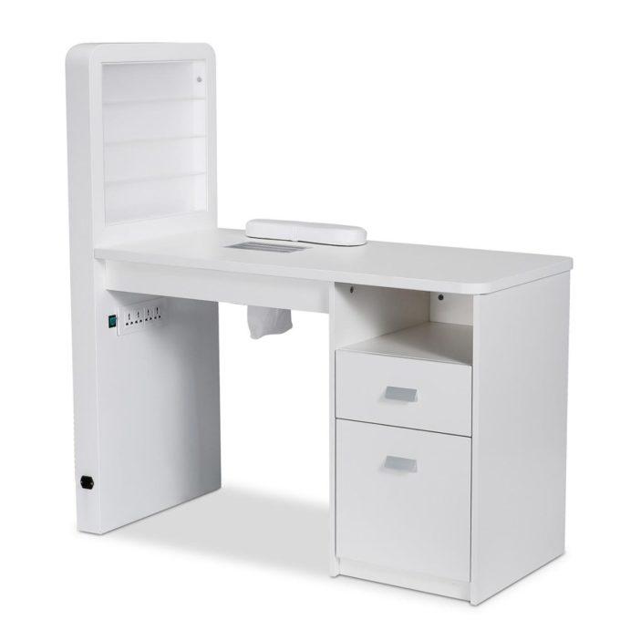 Table de manucure avec aspirateur, vitrine expo vernis, éclairage LED, tiroir, placard et repose-mains