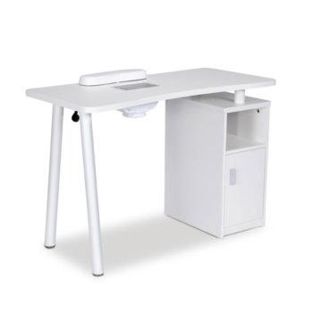 Table de manucure blanche avec rangement et aspirateur collecteur de poussière