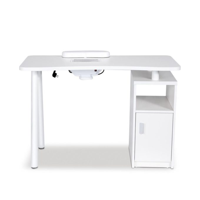 table de manucure blanche avec collecteur de poussière