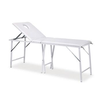 Table de massage pliante pour le transport et légère, blanc avec réglage manuel du dossier