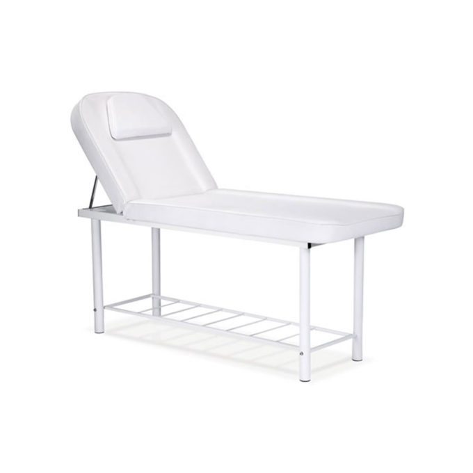 Lit de massage structure en métal blanc matelas épais et confortable, léger et économique