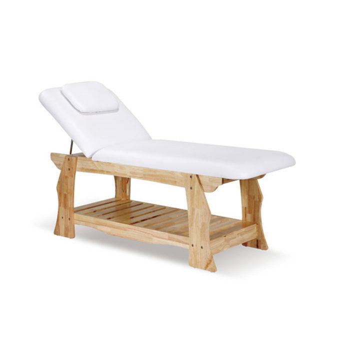 Lit de massage en bois massif clair avec rangement matelas épais et trou facial