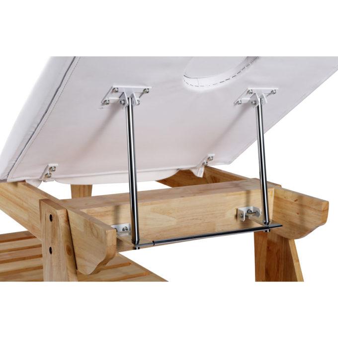 table de massage en bois clair dossier relevable