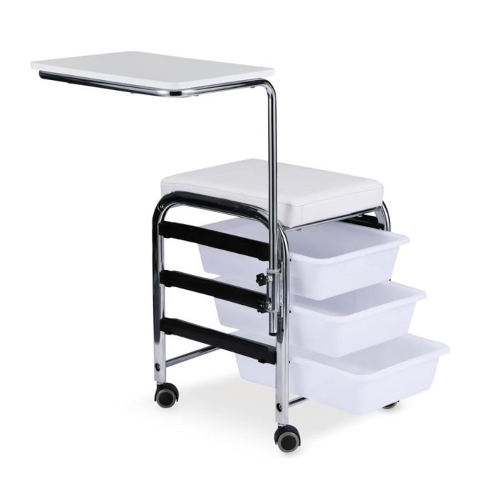 Table, tabouret sur roulettes, tiroirs, tablette et assise rembourrée blanc pour manucure
