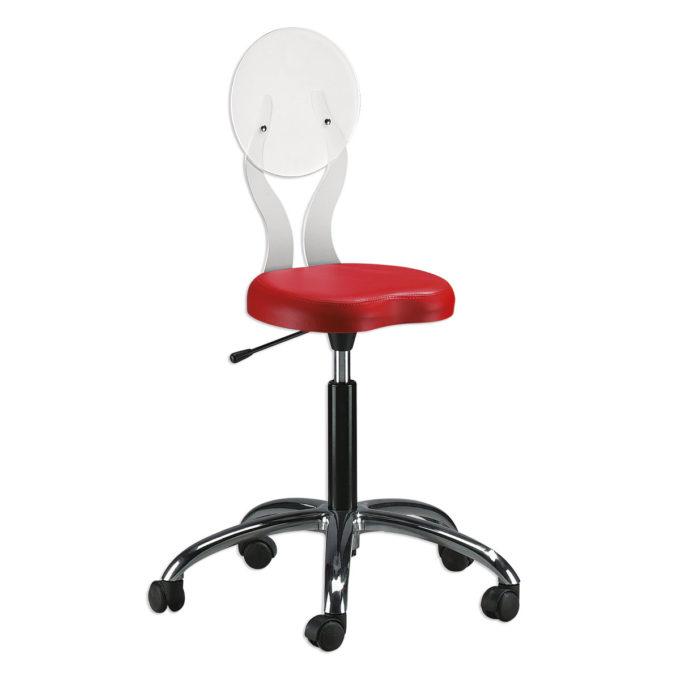 Tabouret de coiffeur rouge et dossier en plexiglass blanc, roulettes et réglable en hauteur