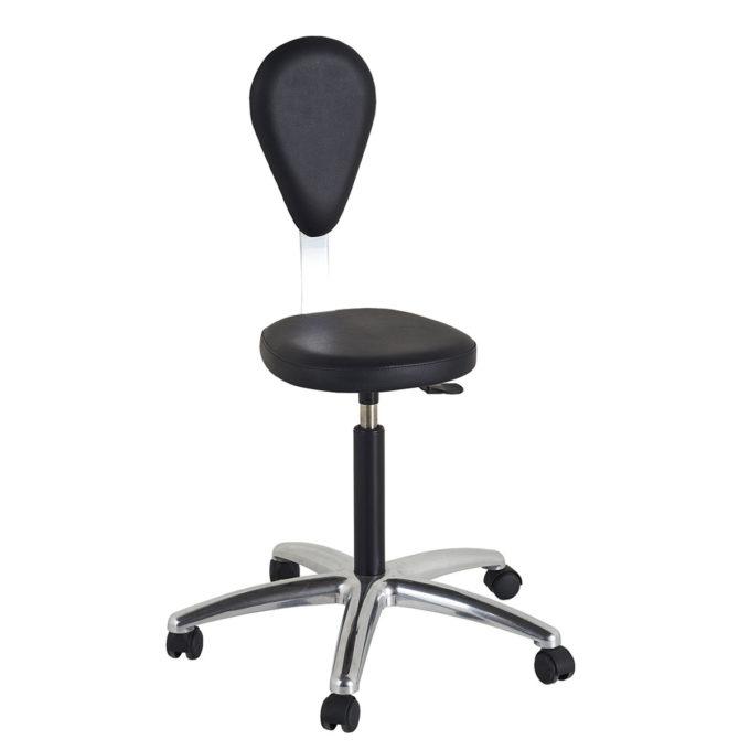 Siège avec dossier de coiffure noir avec dossier ovale et assise ronde, 5 roulettes, hauteur réglable